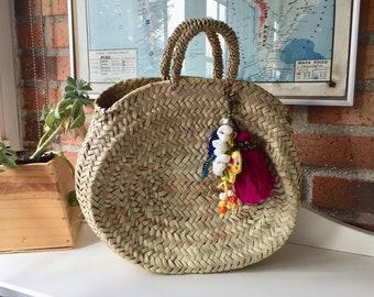 vintage  hand made wicker rattan basket handbag , purse,