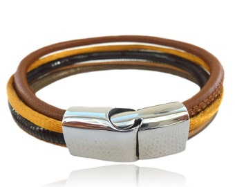 Multi-row leather bracelet medium brown with flat magnetic clasp, silver stainless steel clasp, jewelry for men, gifts for him