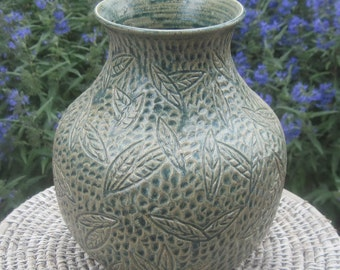 Vase Falling Leaves in Antique Blue - Visit shop for more Carved Pottery