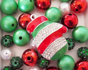 Red and Green Bead Collection, 10mm beads and larger, K26