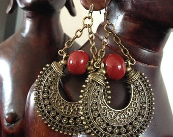 Bohemian earrings, hippie chic, rings and earrings, ceramic rust and bronze metal.
