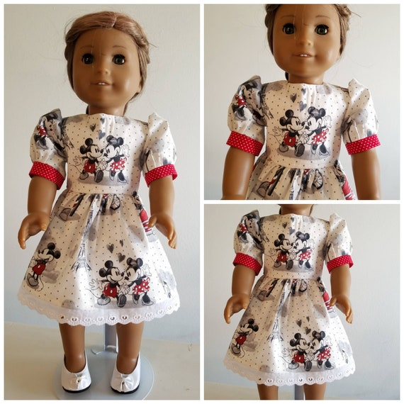 Mickey and Minnie Mouse in Paris Dress American Made 18 Inch Doll Clothes