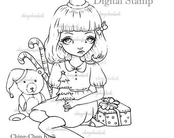 Christmas Tree - Digital Stamp Instant Download / Gift Present Bear Fantasy Cute Vintage Girl Art by Ching-Chou Kuik