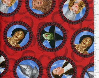 bty ~ WIZARD OF OZ ~ cameo fabric glinda wicked witch dorothy scarecrow tin woodsman cowardly lion ~ quilting treasures