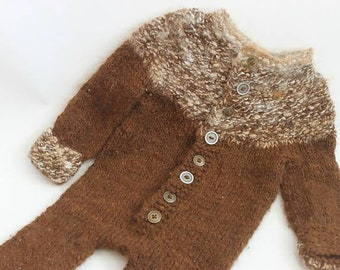 Infants onsie, Romper, longies, eco friendly handspun yarn, Alpaca, hand knit, vintage buttons, 0-6mo, wool soaker