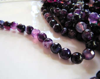 8mm AGATE Beads in Violet Purple Lavender Shades, 8mm, 1 Strand, 15 Inches, Approx 48 Beads, Faceted Round Gemstones