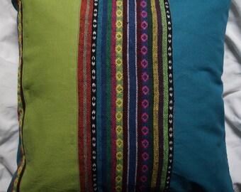 Series Mexico 9: cushion 40x40cm (16 x 16), striped cotton Mexican motifs, multicoloured, cotton blue-green, green cotton.