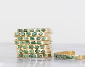 raw emerald bracelet | emerald cuff bracelet | may birthstone cuff | may birthstone bracelet | raw emerald jewelry | raw crystal bangle