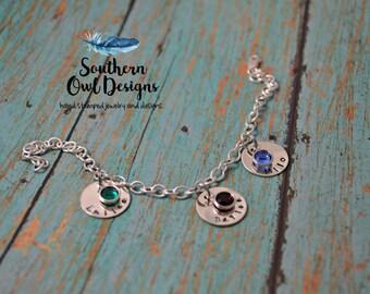 Hand Stamped Mother's bracelet, hand stamped Grandmother Charm bracelet, sterling silver stamped bracelet