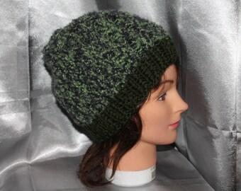 CAP, mixed, moss green, soft and lightweight, hand knitted