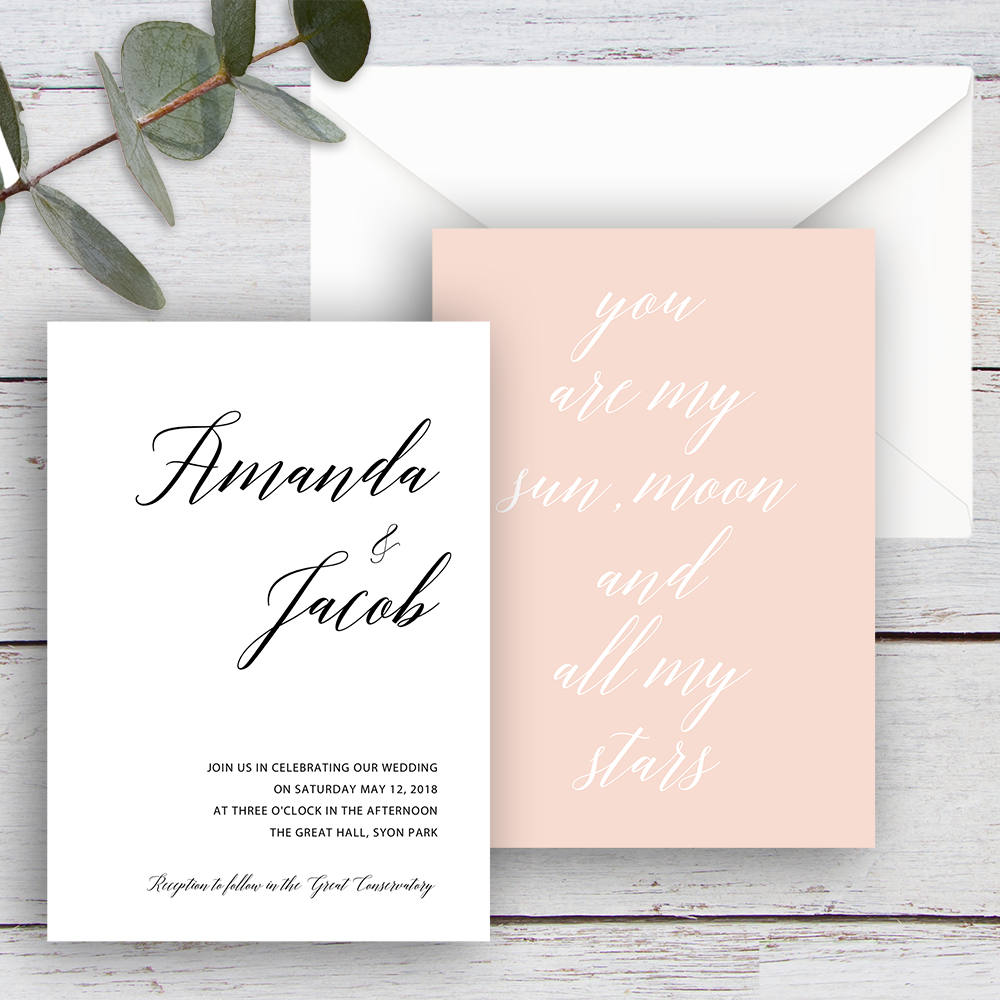 LOVE POEM, DIY Printable Invitation Suite Templates, White, Black & Pink