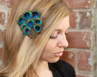 Glam Vintage Peacock Fan Fascinator Hairclip