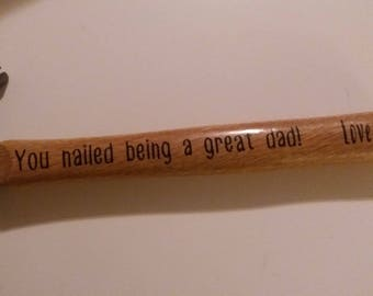 Personalized Custom Hammer Fathers Day Birthday Dad Daddy Grandpa Gift Tool Jenuine Crafts