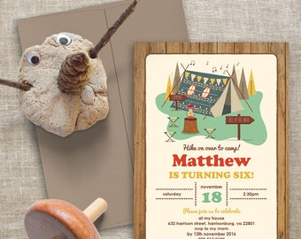 Camping Birthday Invitation | 5x7 | Editable PDF | Instant Download | Personalize at home with Adobe Reader