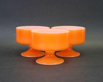 Vintage Orange Federal Milk Glass Sherbet Dishes, Set of 3 (E9265)