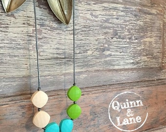 Silicone Teething Necklace Quadrates - Bite Beads Nursing Necklace Jewelry - Teether Chewing Beads - Nursing Necklace - Baby Shower Gift