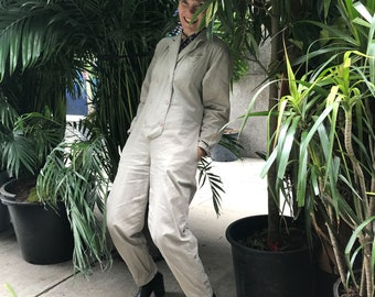 vintage 80s taupe denim jumpsuit / double breasted cotton one piece workwear coverall / neutral work wear coveralls