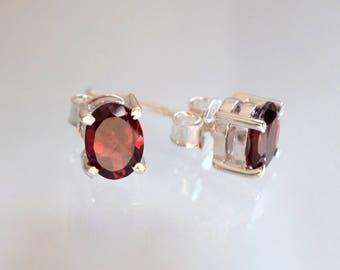 Red Garnet Stud Earrings, Silver Earrings, Red Post earrings, Gemstone Earrings, Birthday Gift, January birthstone earrings, tiny earrings