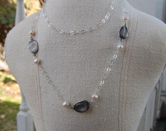 Custom 3 Fingerprint Necklace with Pearls