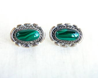 Malachite Post Earrings Vintage Southwestern Green Stone Posts Oval Studs Sterling Silver Native American Jewelry