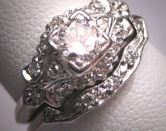 Rare Antique Platinum Diamond Wedding Ring Set W/Band Art Deco .70ctw  Engagement 1930u0027s