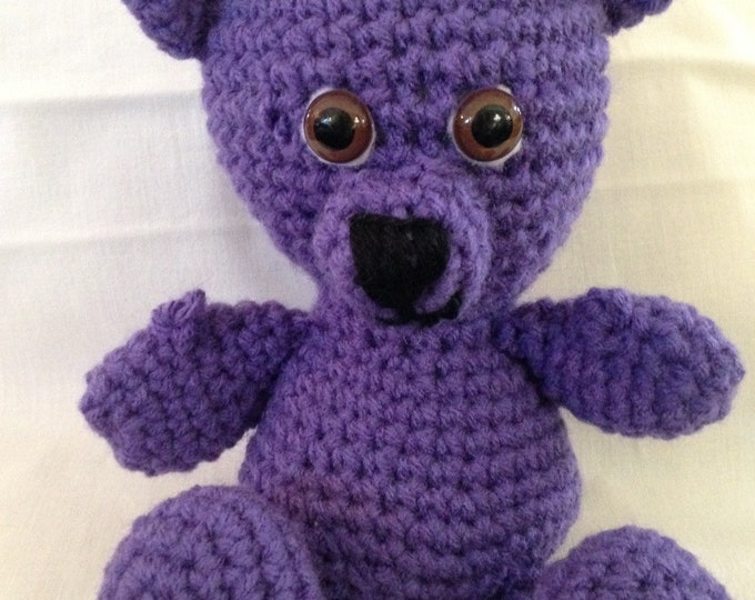 Crochet teddy bear purple bear Childs toy stuffed purple bear small stuffed bear handmade crocheted bear crocheted bear stuffed toy bear
