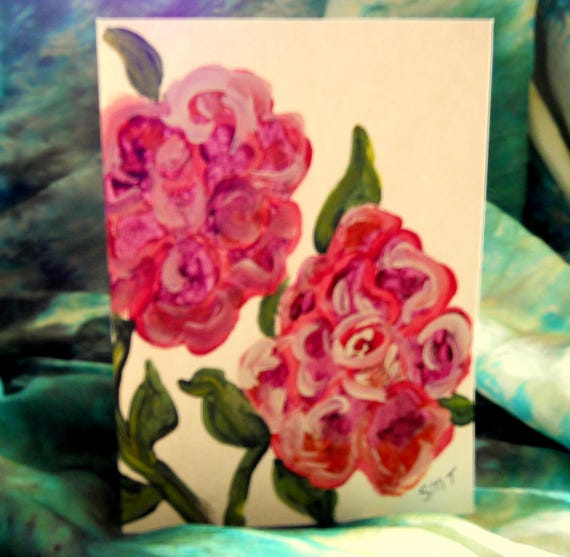 Original Hand Painted Blank Note Card, Acrylic Painting, English Roses, pink, Folk Art Keepsake Signed Artwork by Stacey Torres