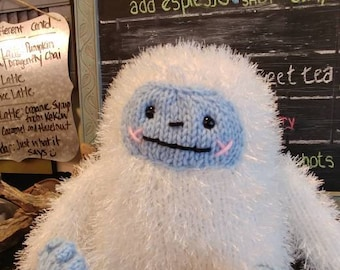 Big Joe the Yeti.  A friend you can believe in.  Abominable snowman stuffed animal, hand knit by me.  Bigfoot Sasquatch pal.