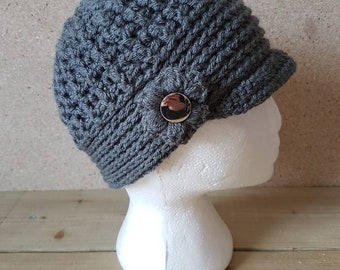 Chunky Newsboy ladies peaked hat.  Handmade . NEW