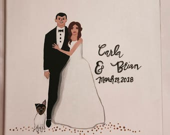 Bride and Groom Painting with Pet