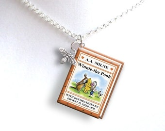 Winnie the Pooh With Tiny Bumblebee Charm - Miniature Book Necklace