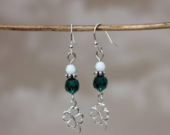 Shamrock 4 leaf clover earrings, Green Swarovski crystal beads, Sterling Silver hooks