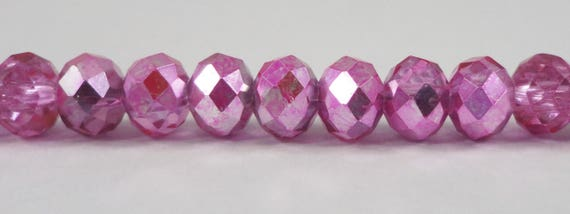"Metallic Pink Crystal Beads 6x4mm (4x6mm) Half Transparent Crystal Rondelle Beads, Chinese Crystal Glass Beads on a 9"" Strand with 50 Beads"