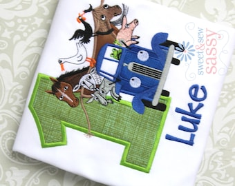 Little Blue Truck Birthday Applique Shirt