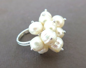 Cream Freshwater Pearl Cluster Ring