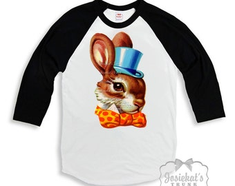 Easter Kids Shirt - Easter Boy Shirt - Sibling Easter Shirts - Black White Baseball - Boy Bunny Shirt - Brother Sister Shirt - Easter Retro