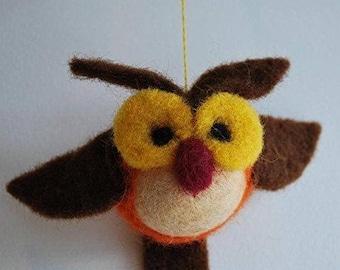 Mobilaria Wise Bird Needle Felting Kit from De Witte Engel - Needle Felted Owl Kit - Easy Needle Felted Bird Kit