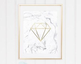 White Marble, Geometric Shape Diamond, Classic Gold, Rose Gold Foil Wall Art Print, TWO Prints, Printable, Modern Decor, INSTANT DOWNLOAD