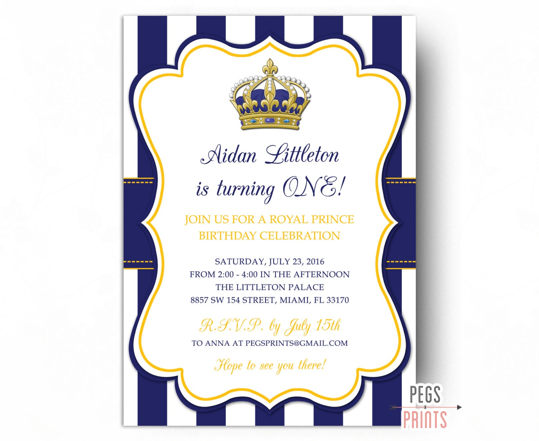 Royal Prince Birthday Invitation // Printable Prince Birthday