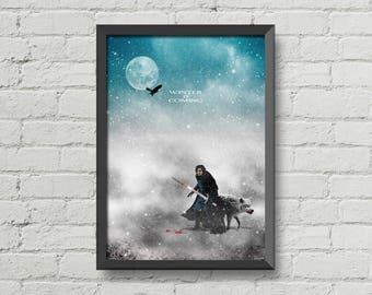 Winter is coming,poster,digital print,art,games of thrones,jon snow,movie poster,artwork