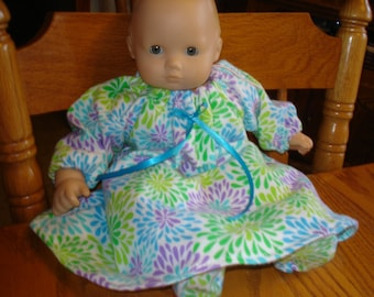 Flannel Long Nightgown and Slippers, 15 inch doll like Bitty Baby