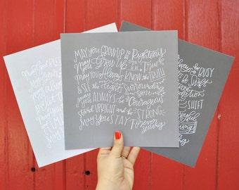 forever young grey trio hand lettered print // bob dylan prints // parenthood prints // nursery art prints