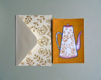 Hand painted postcard + personalized envelope ''Coffee pot'' - Original art - hygge card - hygge gift
