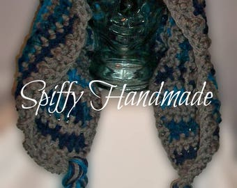 Ready To Ship, Already Made!  Crochet Lace Up Hood in Blues with Braids