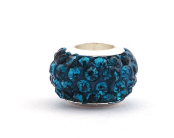 Shamballa Large Hole Bead Indicolite 12 mm ID 5 mm for leather and ribbons (1STK, 3 pcs)