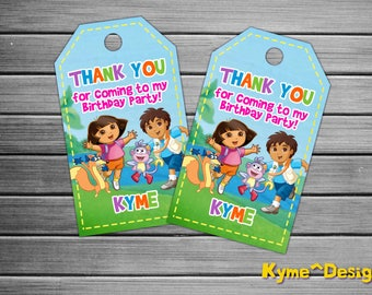Dora the Explorer Thank You Tags, Dora Birthday Favor Tags, Dora Party Tags, Dora Favor Tag, Dora Thank You Printables, Dora gift tags, Dora