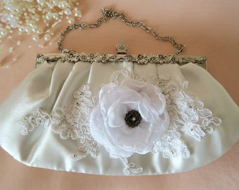 OOAK Romantic lace 3D flower bridal clutch vintage style crystal ivory cream white silver wedding