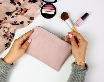 Soft Pink Suede Bag // Cosmetic Bag, Gift For Her, Suede Clutch, Suede Travel Pouch, Small Suede Clutch, Large Suede Bag, Zipper Pouch