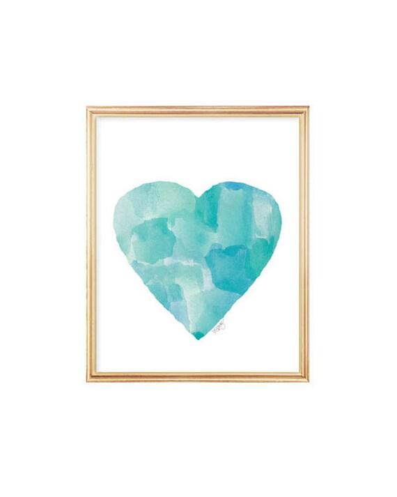 Aqua Watercolor Heart Art Print for Coastal Decor, 8x10