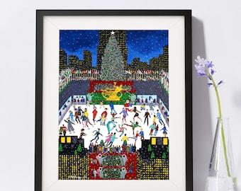 New York Art - Rockefeller Center Ice Skating Rink - New York Gift - NYC Art Print - Pat Singer's New York